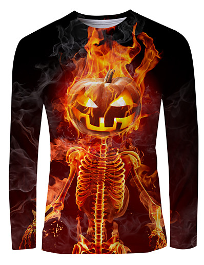 cheap NEW IN-Men's Graphic Flame T-shirt Long Sleeve Halloween Tops Basic Round Neck Orange