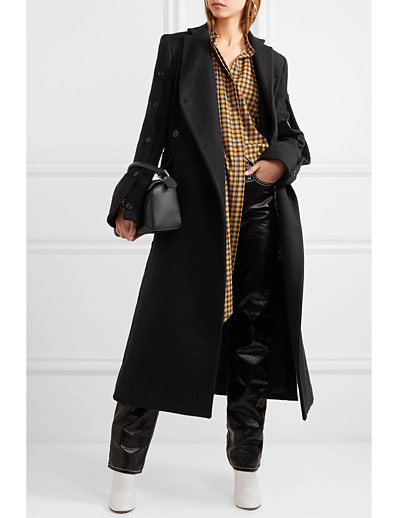 cheap OUTERWEAR-Women's Fall & Winter Double Breasted Coat Long Solid Colored Daily Basic Wool Black S M L XL / Slim