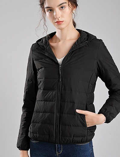cheap Down& Parkas-Women's Down Parka Solid Colored White Duck Down POLY White / Black / Red S / M / L