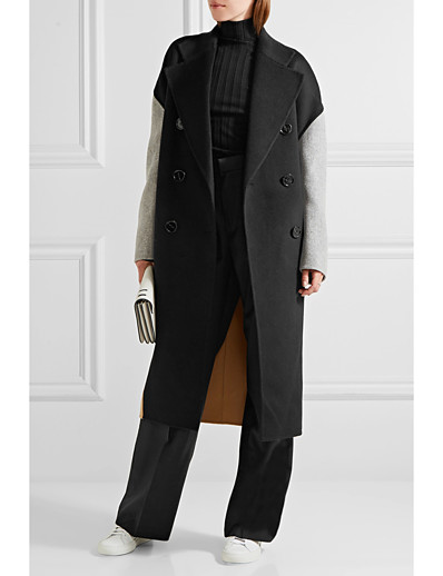 cheap OUTERWEAR-Women's Fall & Winter Double Breasted Coat Long Color Block Daily Basic Black S M L XL / Loose