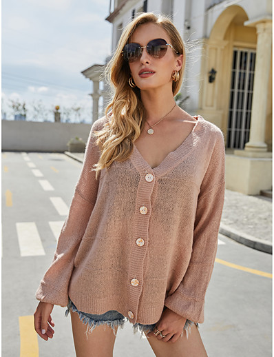 cheap Exclusive-Women's Basic Solid Color Cardigan Acrylic Fibers Long Sleeve Sweater Cardigans V Neck Fall Dusty Rose