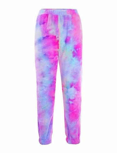 cheap Women's Bottoms-Women's Basic Breathable Slim Daily Chinos Pants Tie Dye Full Length High Waist Purple Blushing Pink Dusty Rose
