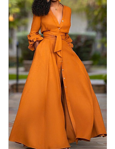 cheap Maxi Dresses-Women's Sheath Dress Maxi long Dress Green Orange White Light Green Long Sleeve Solid Color Patchwork Fall Spring V Neck Hot Casual 2021 S M L XL XXL / Going out / Work