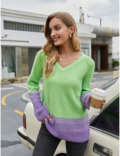 cheap NEW IN EXCLUSIVE-Women's Basic Knitted Color Block Pullover Acrylic Fibers Long Sleeve Sweater Cardigans V Neck Fall Winter Green
