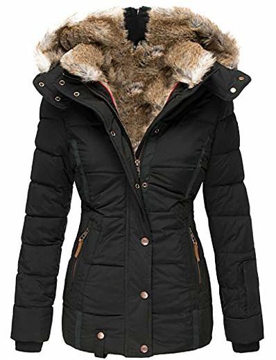cheap 11/16/2020-womens down coats winter zipper hooded faux fur inside parka down jackets (xx-large,black)
