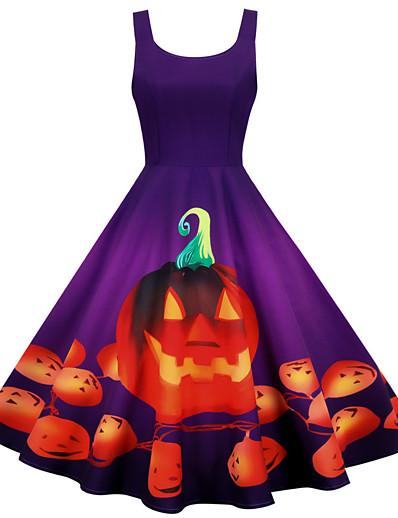 cheap HALLOWEEN 2020-Halloween Women's A-Line Dress Knee Length Dress - Sleeveless Pumpkin Print Patchwork Print Fall Square Neck Vintage Slim 2020 Black Blue Purple Wine S M L XL XXL XXXL