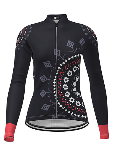 cheap NEW IN-21Grams Women's Long Sleeve Cycling Jersey Polyester Black Novelty Floral Botanical Bike Jersey Top Mountain Bike MTB Road Bike Cycling Breathable Quick Dry Reflective Strips Sports Clothing Apparel