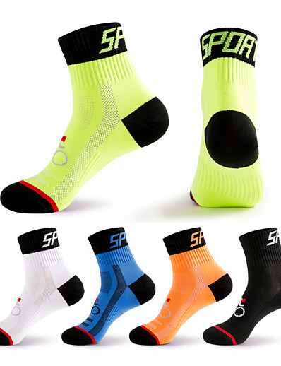 cheap SPORTSWEAR-Compression Socks Athletic Sports Socks Crew Socks Cycling Socks Men's Football / Soccer Cycling / Bike Bike / Cycling Breathable Wearable 1 Pair Winter Solid Color Chinlon Black White Orange M L XL