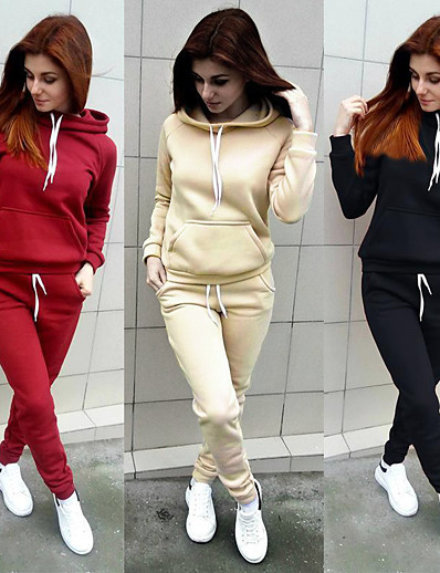cheap WOMEN COLLECTION-Women's Sweatpants Sweatsuit Hoodie 2 Piece Set Cropped hoodie / Crop hoodie Loose Fit Minimalist Drawstring Hoodie Solid Color Sport Athleisure Sweatshirt and Pants Outfits Long Sleeve Warm Soft
