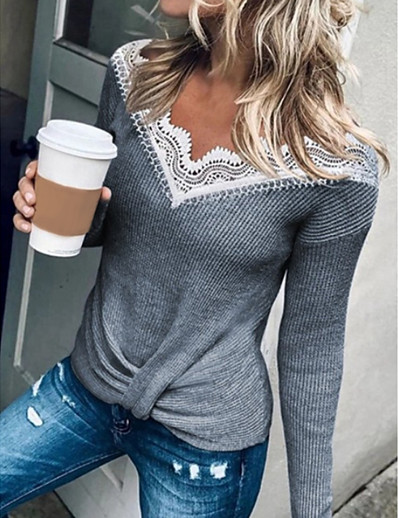 cheap Blouses & Shirts-Women's Solid Colored Pullover Long Sleeve Sweater Cardigans Round Black Yellow Gray