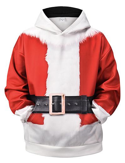 abordables NOUVELLE DANS-Homme Sweat-shirt à capuche 3D Graphique Noël laid Capuche Quotidien basique Noël Pulls Capuche Pulls molletonnés Manches Longues Rouge