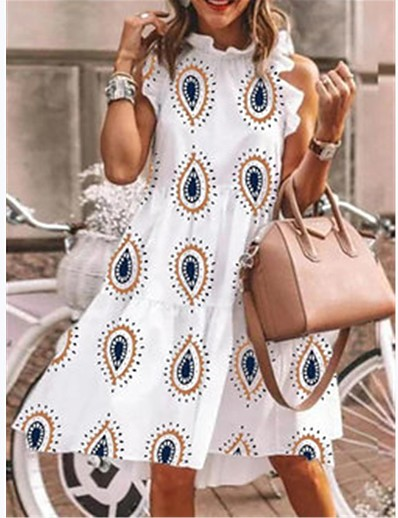 cheap 09/16/2020-Women's A-Line Dress Knee Length Dress - Sleeveless Print Summer Elegant Loose 2020 White S M L XL XXL XXXL