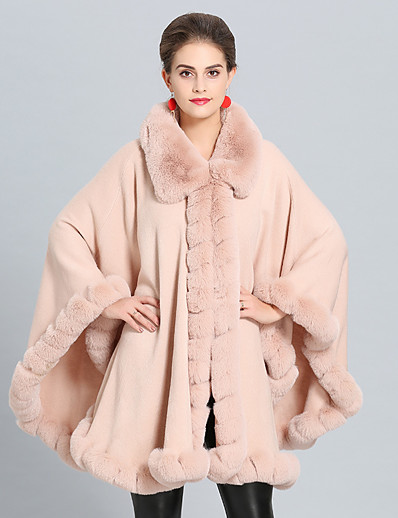 cheap OUTERWEAR-Women's Fall & Winter Cloak / Capes Long Solid Colored Daily Basic Faux Fur Black Blushing Pink Khaki Green One-Size / Loose