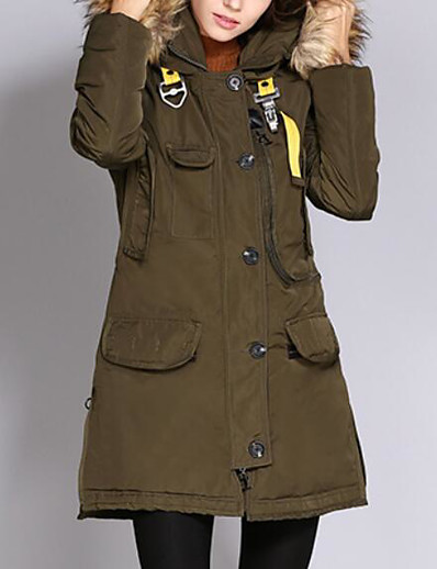 cheap OUTERWEAR-Women's Padded Parka Solid Colored Nylon POLY Army Green S / M / L