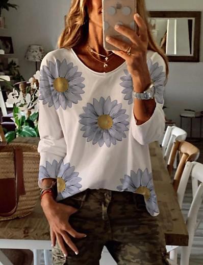 cheap Hoodies & Sweatshirts-Women's Blouse Shirt Floral Flower Long Sleeve Print Round Neck Tops Loose Basic Basic Top White
