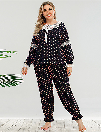 cheap Plus Size Loungewear-Women's Polyester Suits L Black