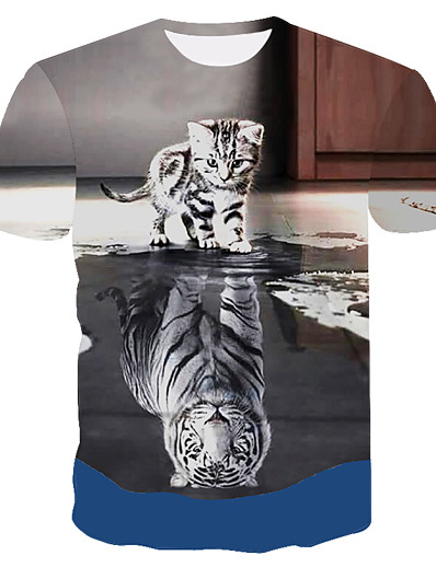 cheap Men's 3D-Men's T shirt Graphic Animal Print Short Sleeve Daily Tops Punk & Gothic Exaggerated Gray