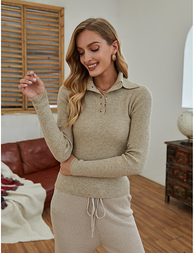 cheap 2021 Trends-Women's Basic Solid Color Pullover Long Sleeve Sweater Cardigans Shirt Collar Fall Winter Beige