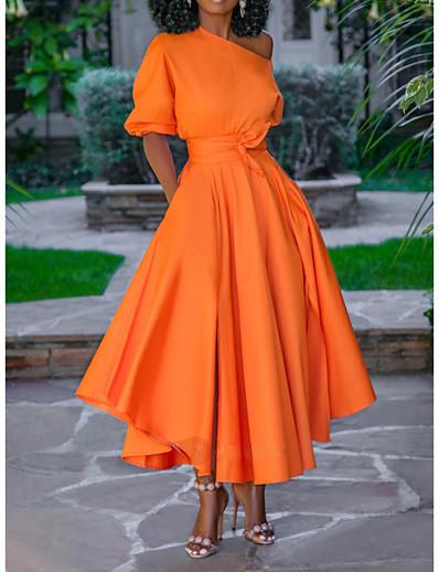 abordables Robes Midi-Femme Robe Évasée Robe mi-longue Bleu Rose Claire Orange Blanche Manches Courtes Couleur unie Lacet Printemps Une Epaule Elégant 2021 M L XL XXL