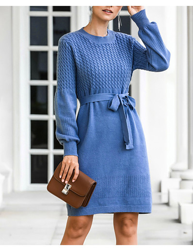 cheap Elegant Dresses-Women's Sweater Jumper Dress Knee Length Dress - Long Sleeve Fall Winter Casual 2020 Black Blue Red Dusty Rose Beige M L XL