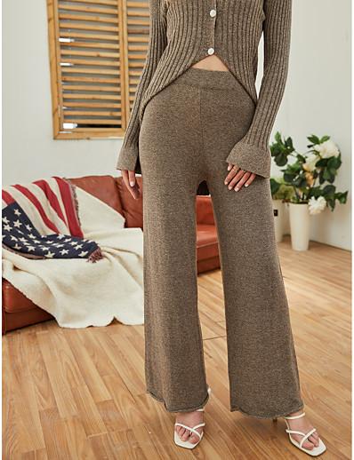 abordables Tendances 2021-Femme basique Ample Quotidien Ample Chino Pantalon Couleur Pleine Toute la longueur Taille haute Marron