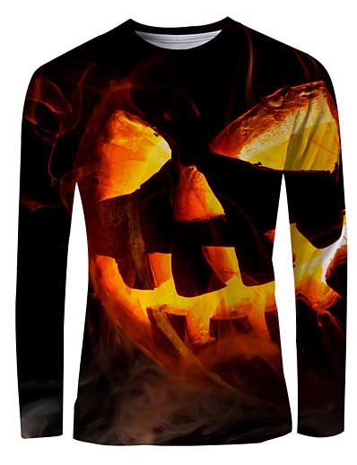 cheap NEW IN-Men's Graphic T-shirt Long Sleeve Halloween Tops Basic Round Neck Orange
