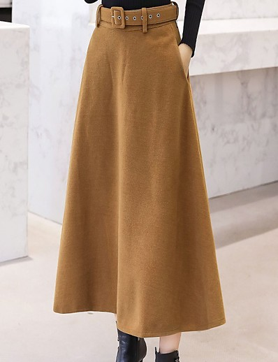 cheap Bottoms-Women's Casual / Daily Basic Skirts Solid Colored Black Wine Khaki / Maxi