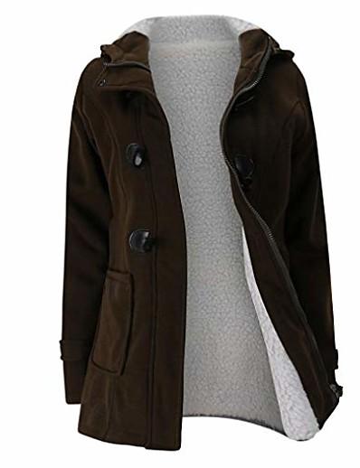 abordables Vêtements d'extérieur grande taille-Manteau d'hiver vestes plus la taille manteau femmes adolescent école hoodies chandail manteau tops chaud coupe-vent café