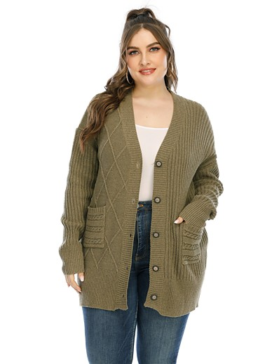 cheap Plus Size Sweaters-Women's Basic Knitted Solid Color Plain Cardigan Long Sleeve Plus Size Sweater Cardigans V Neck Fall Winter Army Green