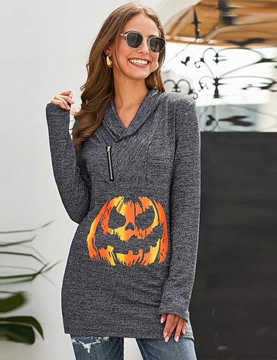 cheap HALLOWEEN 2020-Women's Daily Pullover Hoodie Sweatshirt Tie Dye Pumpkin Halloween Hoodies Sweatshirts  Loose Gray