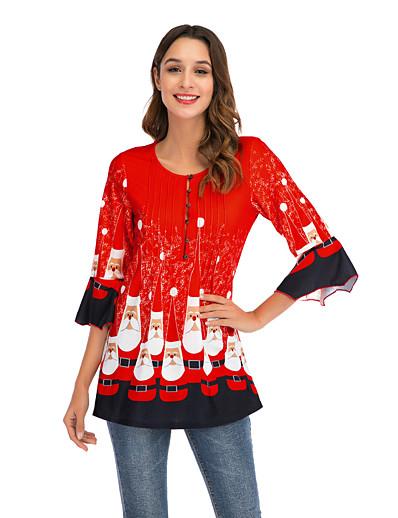 preiswerte Weihnachtsoberteile-Damen Weihnachten T-shirt Blumen Blume Druck Rundhalsausschnitt Oberteile Lose Grundlegend Weihnachten Basic Top Rosa Grün