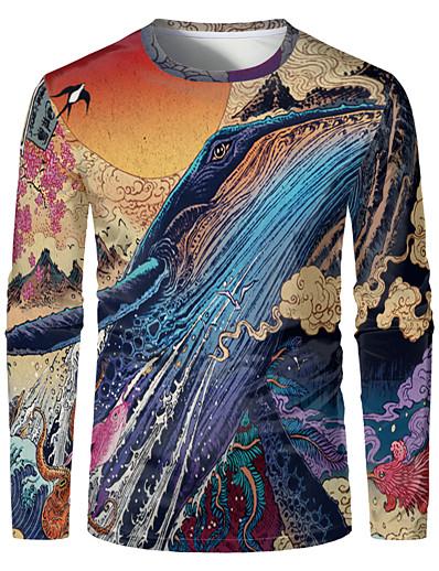 abordables Tops-Homme 3D Graphique Grandes Tailles Tee-shirt Imprimé Manches Longues Quotidien Hauts Elégant Exagéré Col Rond Arc-en-ciel