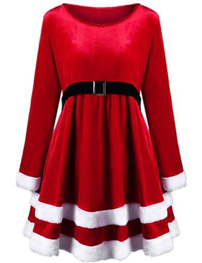 preiswerte Knielange Kleider-Damen Swing Kleid Knielanges Kleid - Langarm Volltonfarbe mit Schnürung Herbst Retro Weihnachten 2020 Rote Grün S M L XL XXL