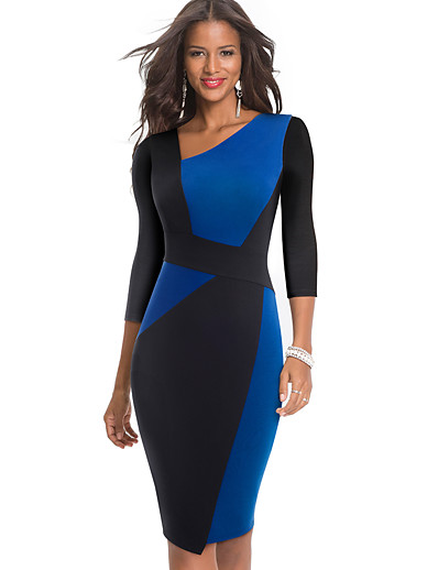 cheap Midi Dresses-Women's Sheath Dress Knee Length Dress - Long Sleeve Color Block Patchwork Fall Elegant 2020 White Blue Red S M L XL XXL