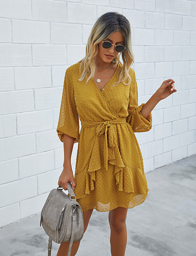 cheap NEW IN-Women's A-Line Dress Knee Length Dress - Long Sleeve Solid Color Ruffle Patchwork Fall Casual Lantern Sleeve 2020 Black Blue Yellow Wine Green S M L XL