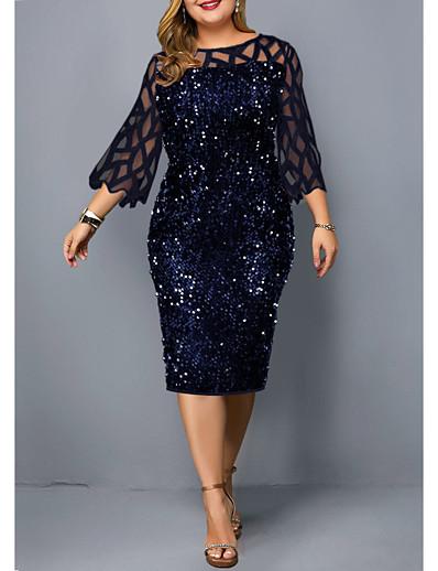 preiswerte Kleider in Übergröße da Donna-Damen Plus Size Kleid Etuikleid Knielanges Kleid Schwarzwein Marineblau 3/4 Länge Ärmel einfarbig Patchwork fallen Rundhals Vintage 2021 l xl xxl 3xl 4xl 5xl