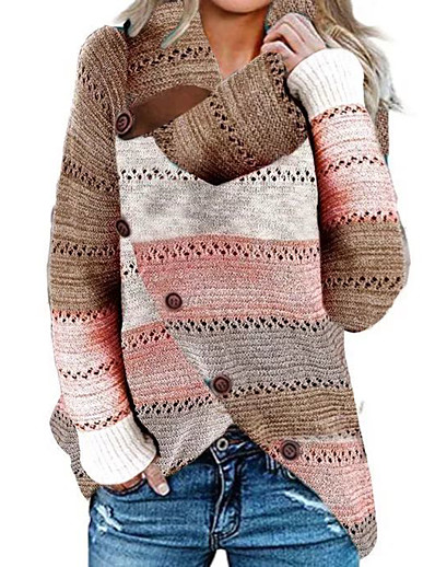 cheap NEW IN EXCLUSIVE-Women's Knitted Button Color Block Pullover Long Sleeve Sweater Cardigans Crew Neck Fall Winter Rainbow