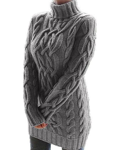 abordables Mini Robes-Femme Robe Pull Mini robe Courte - Manches Longues Couleur unie Automne Hiver Col de Chemise Rétro Vintage 2020 Blanche Noir Violet Kaki Gris S M L XL