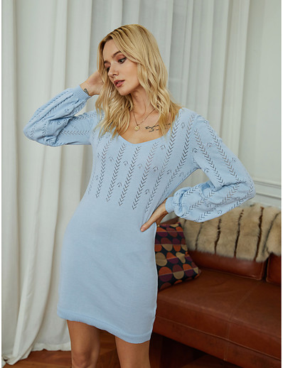 cheap 2021 Trends-Women's Sweater Jumper Dress Short Mini Dress Blue Long Sleeve Solid Color Jacquard Fall Winter Boat Neck Work Elegant Going out 2021 S M L XL