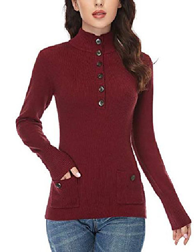 cheap Sweaters & Cardigans-women's button sweater v neck sweater ribbed pullover sweater long sleeve sweater with pockets wine red