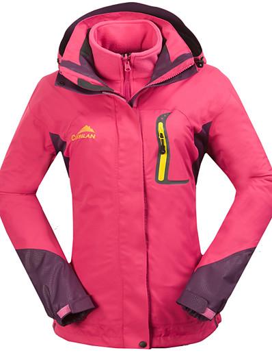 cheap Softshell, Fleece & Hiking Jackets-Women's Fleece Hoodie Jacket Hiking Jacket Hiking 3-in-1 Jackets Outdoor Waterproof Windproof Fleece Lining Breathable Patchwork Double Sliders Full Length Visible Zipper Jacket 3-in-1 Jacket Winter