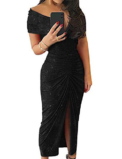 cheap Casual Dresses-womens sexy off shoulder sequin sparkle ruched bodycon dress front slit party evening gown black xl