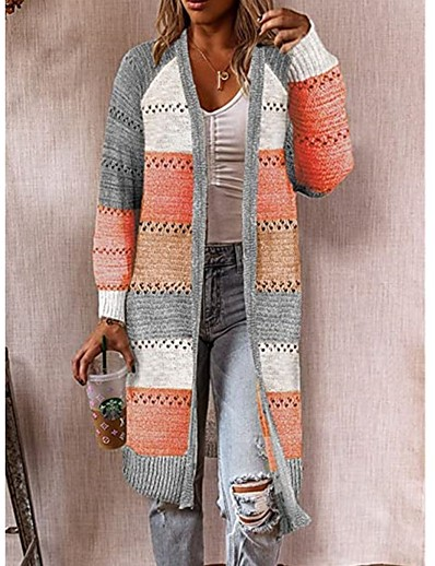 cheap TOPS-Women's Knitted Hollow Out Color Block Cardigan Long Sleeve Sweater Cardigans V Neck Fall Winter Blushing Pink Wine Orange