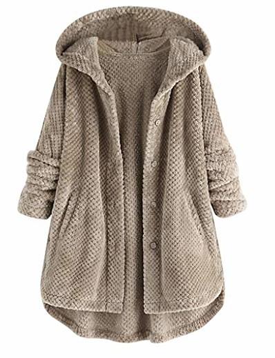 cheap Coats & Trench Coats-button pocket hooded plus size coat women fleece irregular long sleeve jacket gray