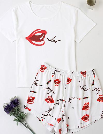cheap Plus Size Loungewear-Women's Home Polyester Loungewear Graphic XL White