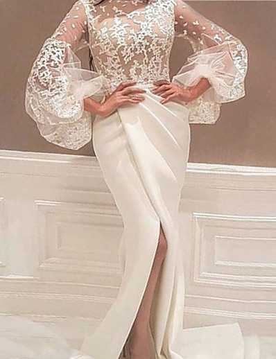 cheap Elegant Dresses-Women's Sheath Dress Maxi long Dress Long Sleeve Solid Color Split Mesh Lace Fall Sexy Flare Cuff Sleeve 2021 White S M L XL XXL