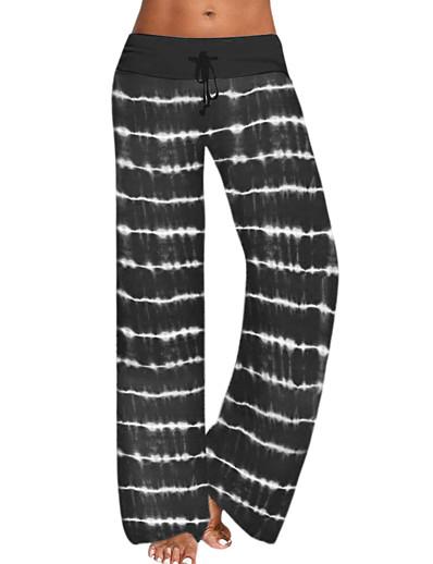 cheap Women's Bottoms-womens comfort pants casual high waist drawstring summer lounge pjs pants stripe blue