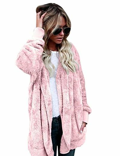 cheap OUTERWEAR-Women's Teddy Coat Regular Daily Wear Chic & Modern Dark Gray Almond Pink ArmyGreen S M L XL