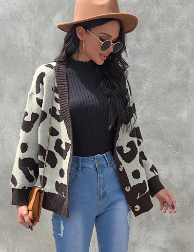 cheap Sweaters & Cardigans-Women's Knitted Leopard Cardigan Long Sleeve Sweater Cardigans Open Front Fall Winter Rainbow
