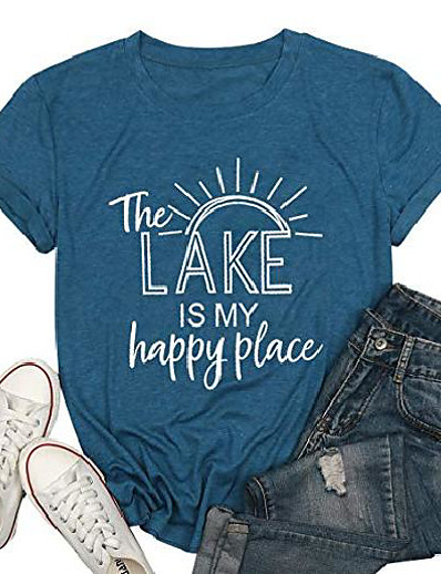 cheap Tees & T Shirts-the lake is my happy place t shirt women lake life shirt summer vacation short sleeve casual tee top blue
